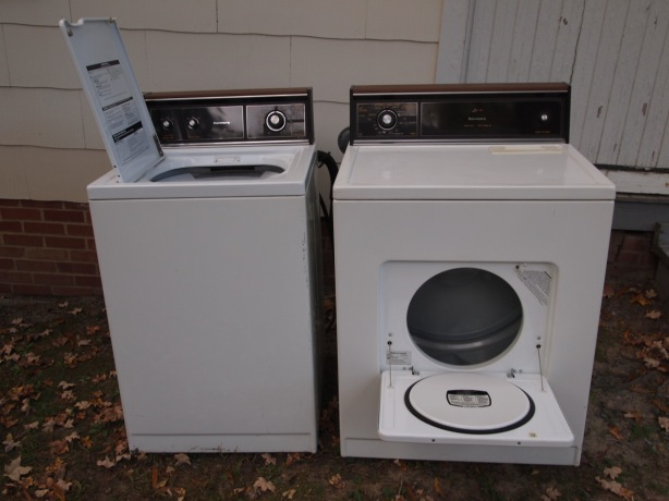 The washer and drier on their way out