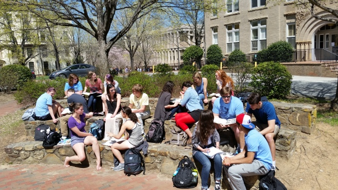 French Class outdoors
