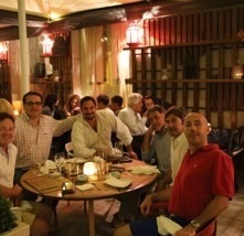 Bentley Boys dinner in an old Greek town