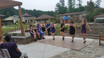Tap dancing demo on the new patio!