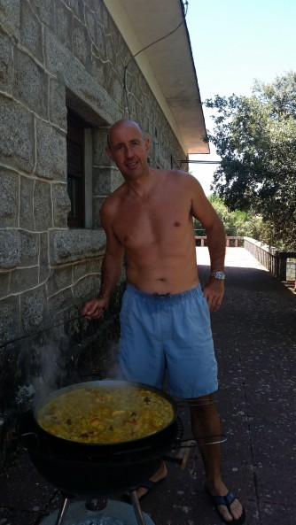 Making the authentic wood fired paella