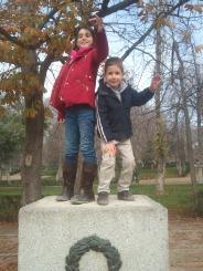 Very lifelike statues that look like my niece and nephew