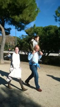 Carrying an injured (scratched knee) niece