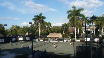 Beautiful clay municipal courts a block away from home! (By the way those are my girls playing a game)