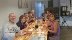 First dinner on the Camino, with Marie Helen on the right.