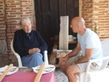 Conversing with brother Eulogio, a Benedictine monk