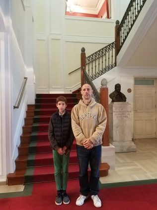 The main staircase (The serious face was Jimmy's idea)