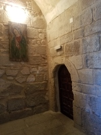 Entering the refectory (dining room) (yes, it is a tiny door)