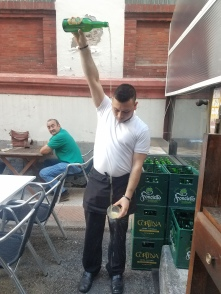 Refreshing and delicious sidra (apple cider) being poured