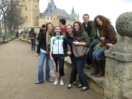 Showing some students the castle at Segovia
