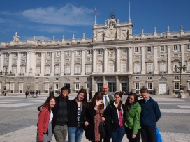 Leading a group of students around the Royal Palace