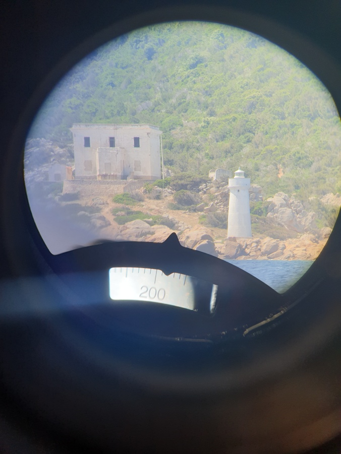 Lighthouse through binoculars