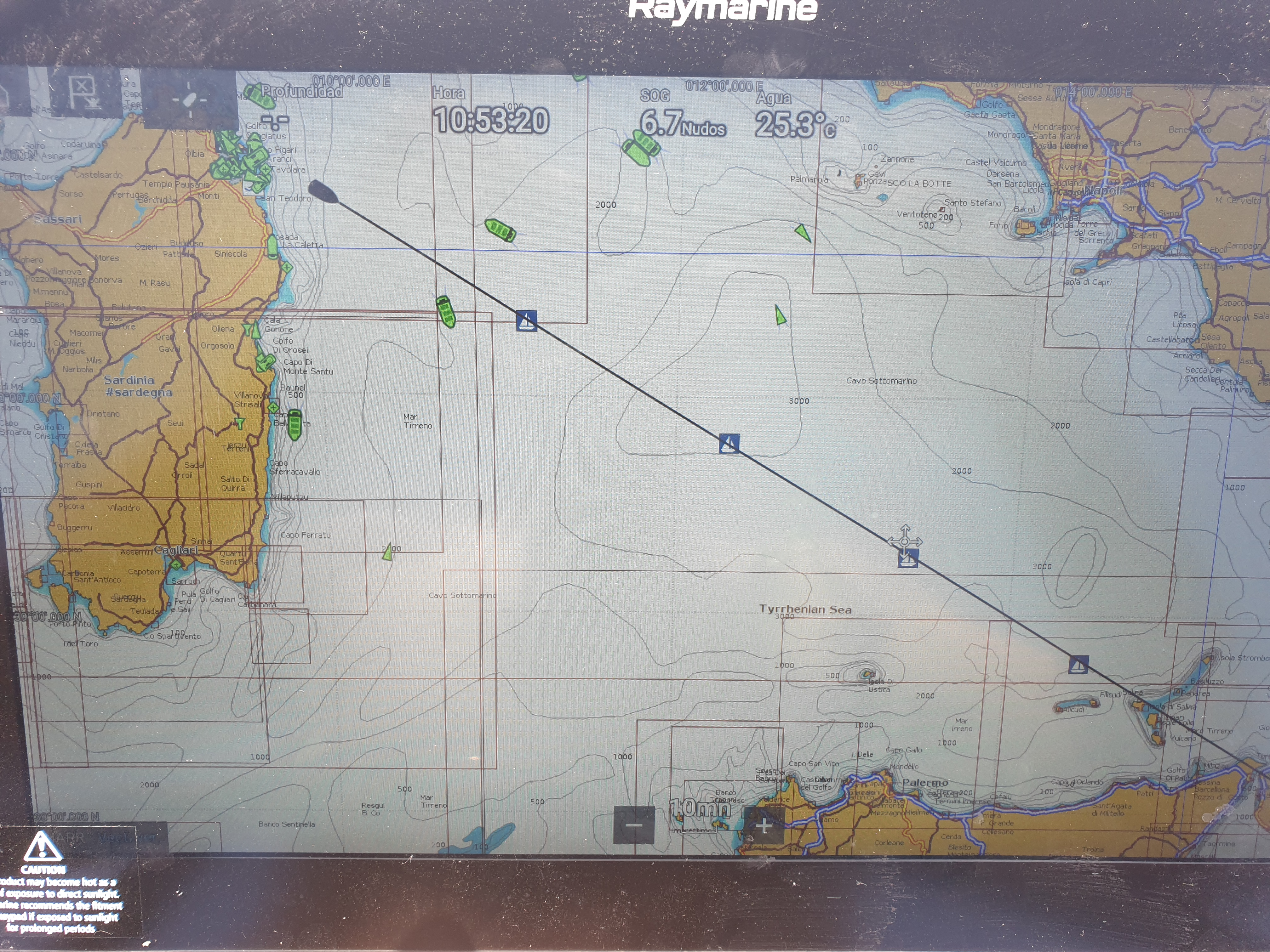 On course for the Messina Straight